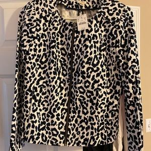 Cheetah zip blazer